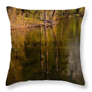 Tranquil Merced River Throw Pillow by Duncan Selby