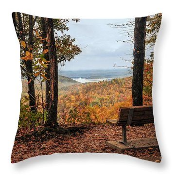 Throw Pillow featuring the photograph Tranquility Bench In Great Smoky Mountains by Debbie Green