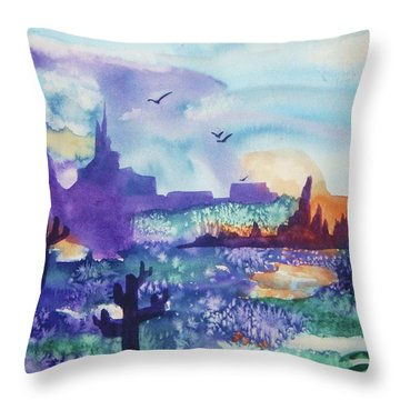 Throw Pillow featuring the painting Tranquility II by Ellen Levinson