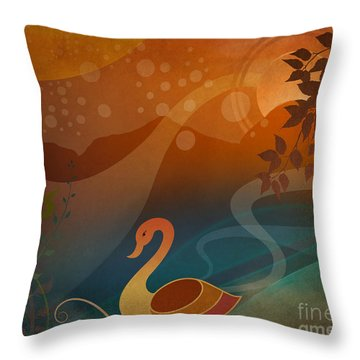 Tranquility Sunset Throw Pillow by Bedros Awak