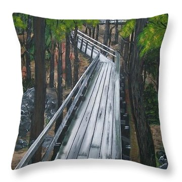 Throw Pillow featuring the painting Tranquility Trail by Sharon Duguay