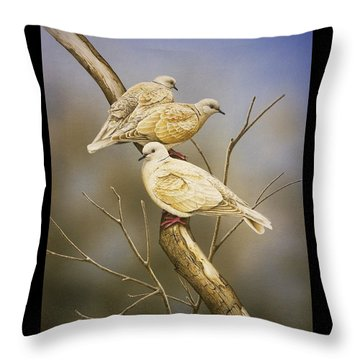 Tranquillity - Ring-necked Doves Throw Pillow by Frances McMahon