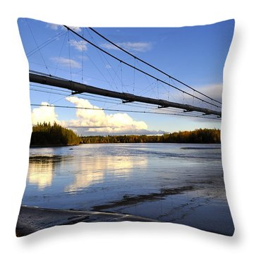 Throw Pillow featuring the photograph Transalaska Pipeline Bridge by Cathy Mahnke
