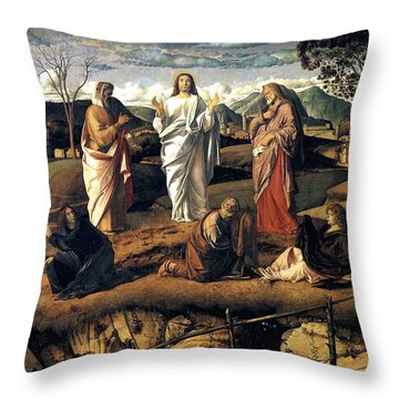 Transfiguration Of Christ 1487 Giovanni Bellini Throw Pillow by Karon Melillo DeVega