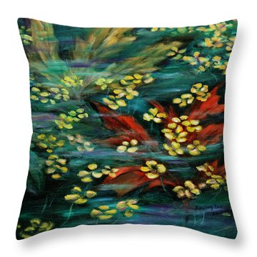 Throw Pillow featuring the painting Transforming... by Xueling Zou