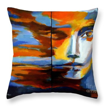 Throw Pillow featuring the painting Transition - Diptic by Helena Wierzbicki