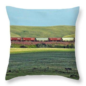 Transportation. Panorama With A Train. Throw Pillow by Ausra Huntington nee Paulauskaite