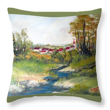 Transylvanian Village View Throw Pillow