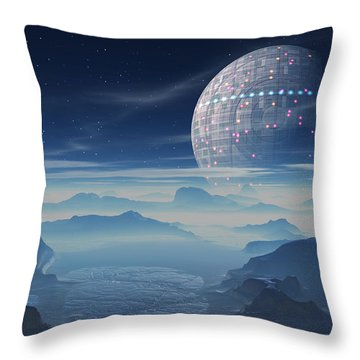 Throw Pillow featuring the digital art Tranus Alien Planet With Satellite by Judi Suni Hall