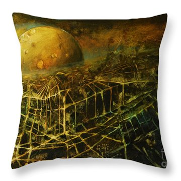 Trapped By The Moon Throw Pillow by Michal Kwarciak