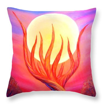Throw Pillow featuring the painting Trapped Moon by Lilia D