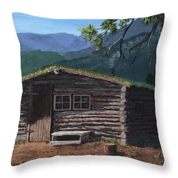 Trapper Cabin Throw Pillow
