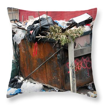 Trash Dumpster In Slums Throw Pillow