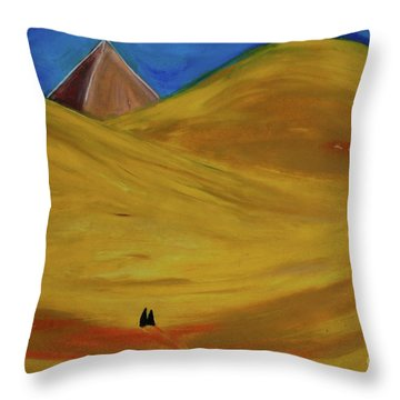 Throw Pillow featuring the drawing Travelers Desert by First Star Art