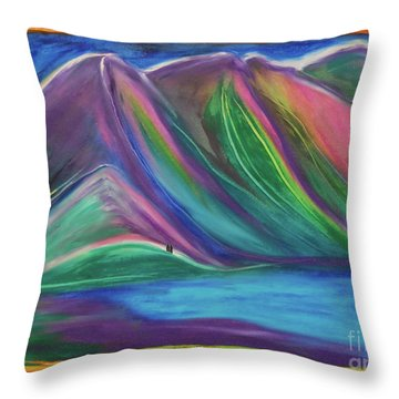 Throw Pillow featuring the painting Travelers Mountains By Jrr by First Star Art