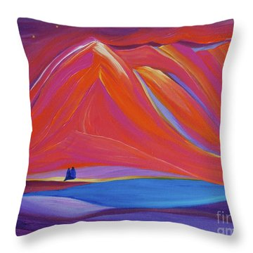Throw Pillow featuring the painting Travelers Pink Mountains by First Star Art