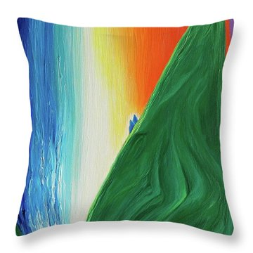 Throw Pillow featuring the painting Travelers Rainbow Waterfall By Jrr by First Star Art