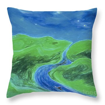 Throw Pillow featuring the painting Travelers Upstream By Jrr by First Star Art