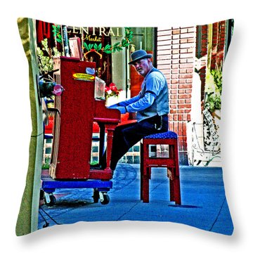 Traveling Piano Player Throw Pillow