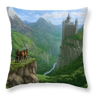 Traveller In Landscape With Distant Castle Throw Pillow