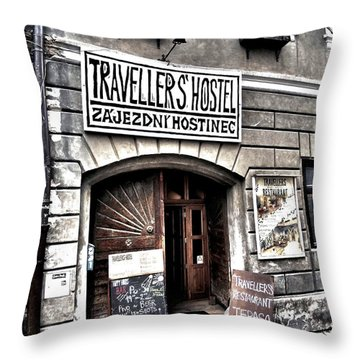 Throw Pillow featuring the photograph Travellers Hostel - Cesky Krumlov by Juergen Weiss