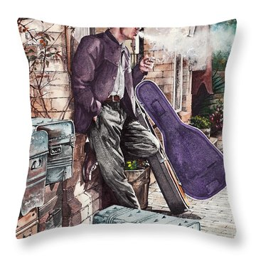 Travelling Man Throw Pillow