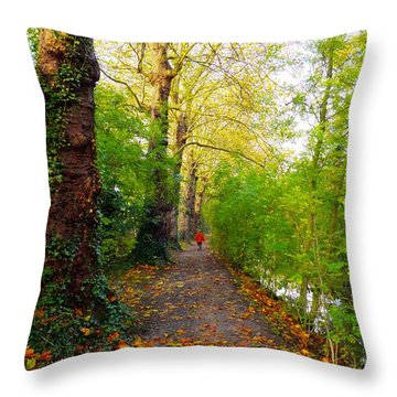 Traversee De L'automne Au Bord Du Canal De Seclin Throw Pillow
