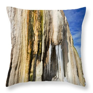 Throw Pillow featuring the photograph Travertine And Water And Ice by Sue Smith