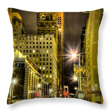 Travis And Lamar Street At Night Throw Pillow
