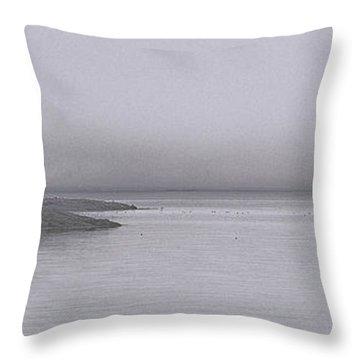Trawler In Fog Throw Pillow