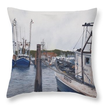 Trawlers At Gosman's Dock Montauk Throw Pillow by Barbara Barber