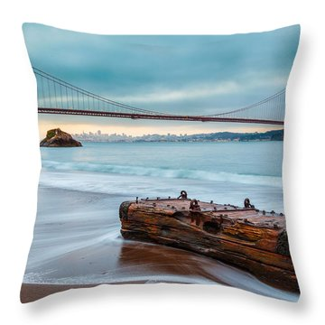 Treasure And The Golden Gate Bridge Throw Pillow