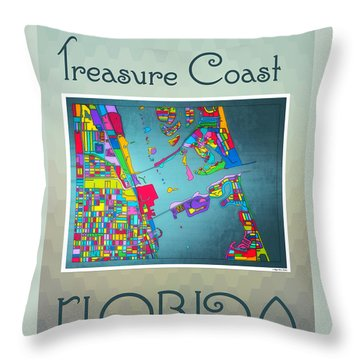Throw Pillow featuring the digital art Treasure Coast Map by Megan Dirsa-DuBois