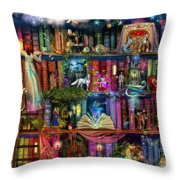Fairytale Treasure Hunt Book Shelf Throw Pillow by Aimee Stewart