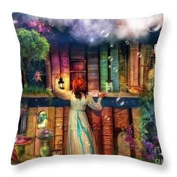 Fairytale Treasure Hunt Book Shelf Variant 2 Throw Pillow