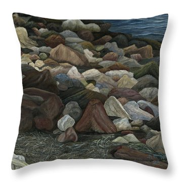 Throw Pillow featuring the painting Treasure Stones by Angeles M Pomata