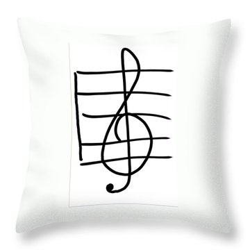 Treble Clef Throw Pillow by Jada Johnson