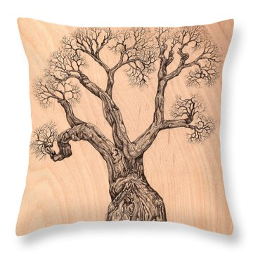 Tree 36 On Wood Throw Pillow