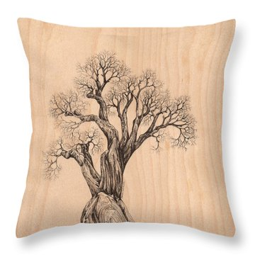 Tree 37 On Wood Throw Pillow