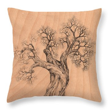 Tree 38 On Wood Throw Pillow