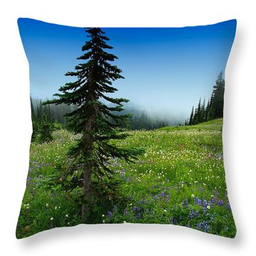 Tree Amongst Wildflowers Throw Pillow