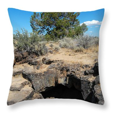Throw Pillow featuring the photograph Lava Beds National Monument Cave by Debra Thompson
