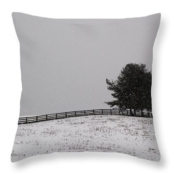 Tree And Fence In Snow Storm Throw Pillow