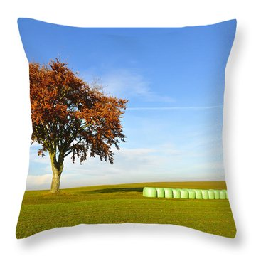 Tree And Hay Bales Throw Pillow by Aged Pixel