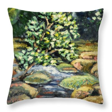 Tree And Stream Throw Pillow