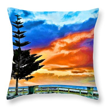 Tree And Sunset Throw Pillow