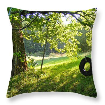 Tree And Tire Swing In Summer Throw Pillow