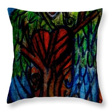Tree Angel Throw Pillow by Genevieve Esson