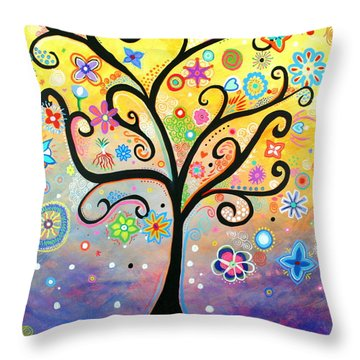 Tree Art Fantasy Abstract Throw Pillow by Bob Baker and Pooki Lee