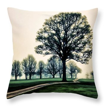 Tree At Dawn On Golf Course Throw Pillow